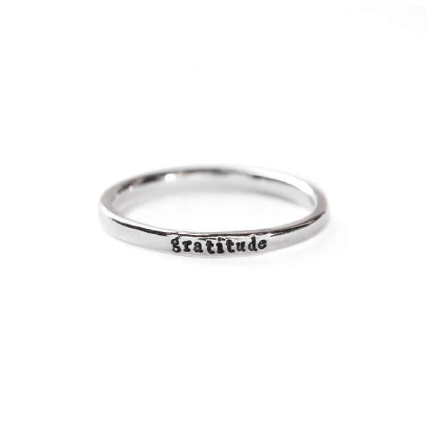 Gratitude - Tiny Message Ring in Sterling Silver