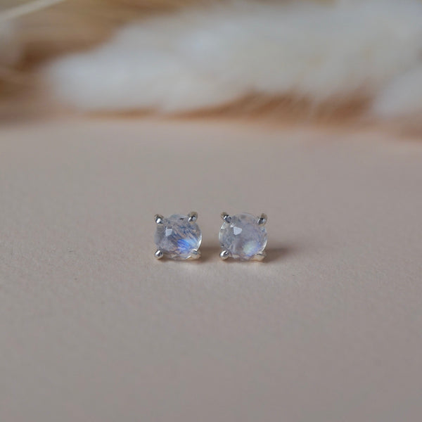 Faceted Rainbow Moonstone Post Earrings in Sterling