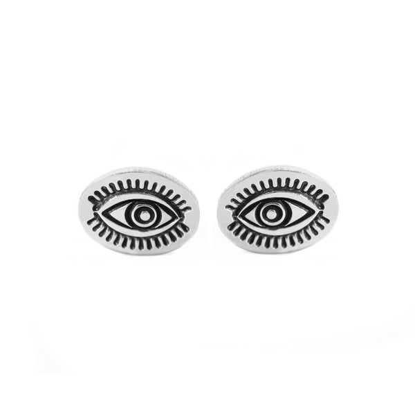 Evil Eye Post Earrings in Sterling Silver