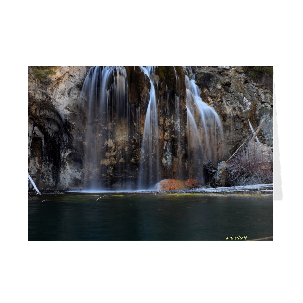 The photograph Hanging Lake imprinted on a 5X7 Greeting Card with an unprinted interior.  These high-quality paper cards come pre-folded, packed in cello sleeves per 10 cards, and includes a white envelope for each card. Works well with regular ballpoint pens after a short drying time.