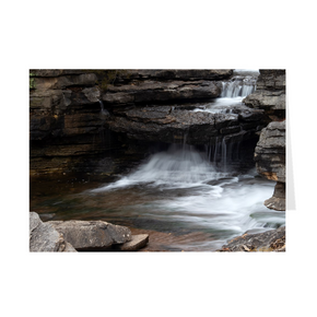 The photograph Lake Ann Spillway imprinted on a 5X7 greeting card with an unprinted interior.  These high-quality paper cards come pre-folded, packed in cello sleeves per 10 cards, and includes a white envelope for each card. Works well with regular ballpoint pens after a short drying time.