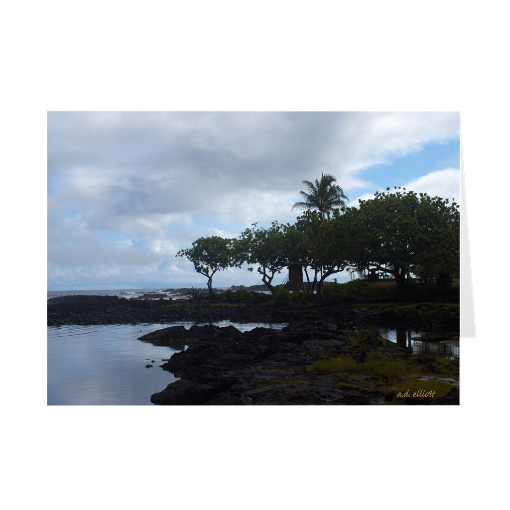 The photograph Hilo Bay imprinted on a 5X7 greeting card with an unprinted interior.  These high-quality paper cards come pre-folded, packed in cello sleeves per 10 cards, and includes a white envelope for each card. Works well with regular ballpoint pens after a short drying time.