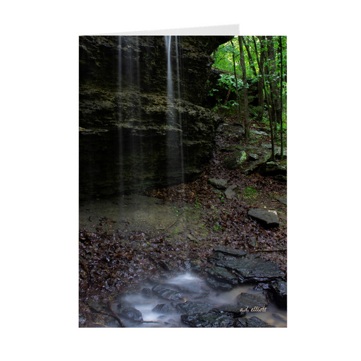 "The photograph ""Rainy Bluff"" imprinted on a 5X7 greeting card with an unprinted interior.  These high-quality paper cards come pre-folded, packed in cello sleeves per 10 cards, and includes a white envelope for each card. Works well with regular ballpoint pens after a short drying time."