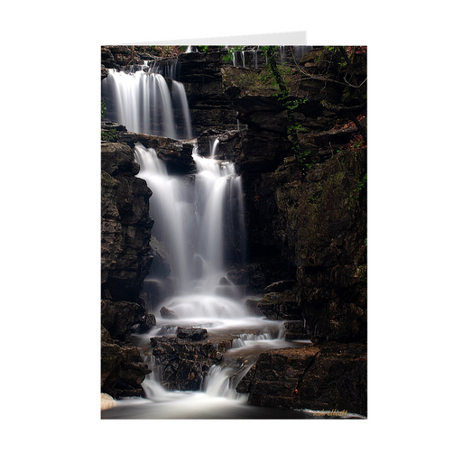 The photograph Norwood Falls 2019 imprinted on a 5X7 Card with a blank interior.  These high quality paper cards come pre-folded, packed in cello sleeves per 10 cards, and includes a white envelope for each card. Works well with regular ballpoint pens after short drying time.
