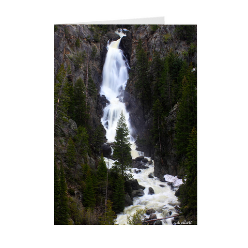 The photograph Fish Creek Falls imprinted on a 5X7 greeting card with an unprinted interior.  These high-quality paper cards come pre-folded, packed in cello sleeves per 10 cards, and includes a white envelope for each card. Works well with regular ballpoint pens after a short drying time.
