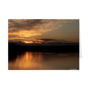 The photograph Sunset Loch Lomond Dam 2020 imprinted on a 5X7 greeting card with an unprinted interior.  These high quality paper cards come pre-folded, packed in cello sleeves per 10 cards, and includes a white envelope for each card. Works well with regular ballpoint pens after short drying time.