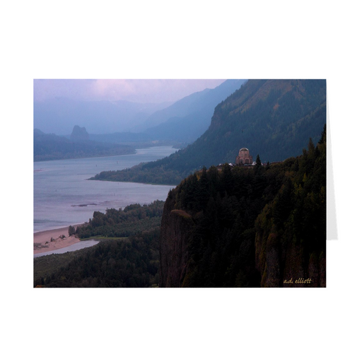 The photograph Vista House imprinted on 5X7 greeting cards with unprinted interiors.  These high quality paper cards come pre-folded, packed in cello sleeves per 10 cards, and includes a white envelope for each card. Works well with regular ballpoint pens after short drying time.
