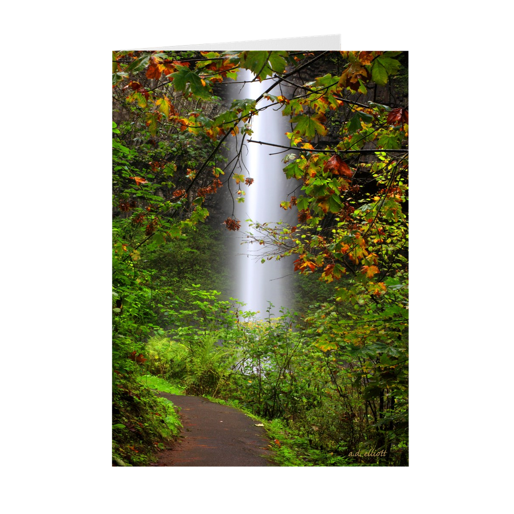 "The photograph ""Latourell Falls"" imprinted on a 5X7 greeting card with an unprinted interior.  These high-quality paper cards come pre-folded, packed in cello sleeves per 10 cards, and includes a white envelope for each card. Works well with regular ballpoint pens after a short drying time."