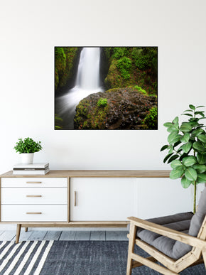A long exposure photograph of Bridal Veil Falls, Columbia River Gorge taken by the photographer a.d. elliott.  Printed on high-quality, artist-grade stock and folded around a lightweight frame to give them a gorgeous, gallery ready appearance. With acid free ink that will last without fading or chipping, Features a scratch-resistant UV coating. Wipes clean easily with a damp cloth or to remove dust, vacuum gently using a soft brush attachment.