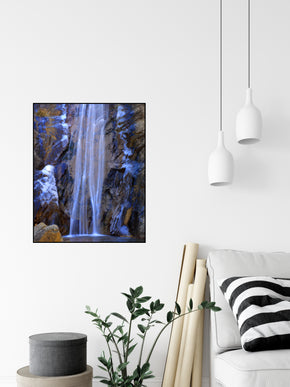 A long exposure photograph of Bridal Veil Falls at Seven Falls Colorado taken by the photographer a.d. elliott  Printed on high quality, artist-grade stock and folded around a lightweight frame to give them a gorgeous, gallery-ready appearance. With acid-free ink that will last without fading or chipping, Features a scratch-resistant UV coating. Wipes clean easily with a damp cloth or to remove dust, vacuum gently using a soft brush attachment.