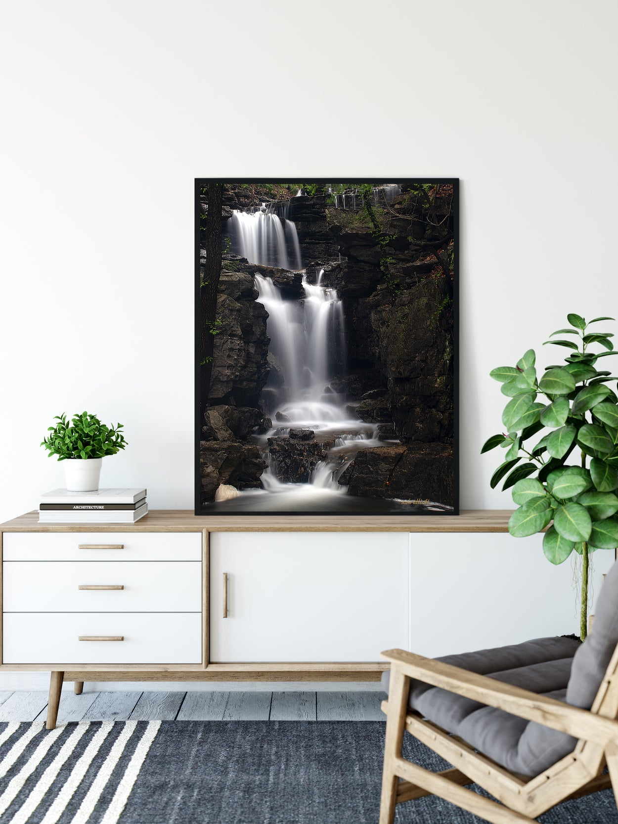 A long exposure photograph of Norwood Falls taken by the photographer a.d. elliott.  Printed on high quality, artist-grade stock and folded around a lightweight frame to give them a gorgeous, gallery-ready appearance. With acid-free ink that will last without fading or chipping, Features a scratch-resistant UV coating. Wipes clean easily with a damp cloth or to remove dust, vacuum gently using a soft brush attachment.