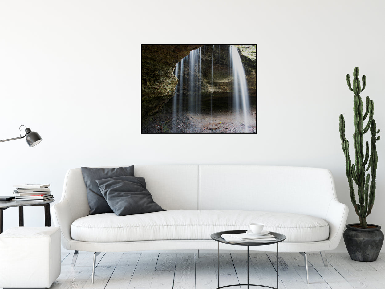A long exposure photograph of water pouring over a bluff.  Printed on high quality, artist-grade stock and folded around a lightweight frame to give them a gorgeous, gallery-ready appearance. With acid-free ink that will last without fading or chipping, Features a scratch-resistant UV coating. Wipes clean easily with a damp cloth or to remove dust, vacuum gently using a soft brush attachment.