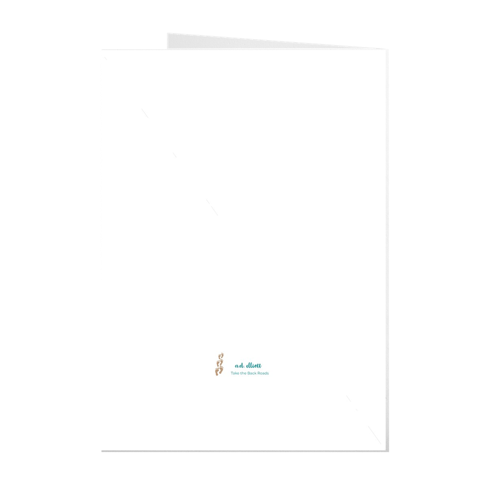 The photograph Boulder Falls imprinted on a 5X7 greeting card with a blank interior.  These high quality paper cards come pre-folded, packed in cello sleeves per 10 cards, and includes a white envelope for each card. Works well with regular ballpoint pens after a short drying time.