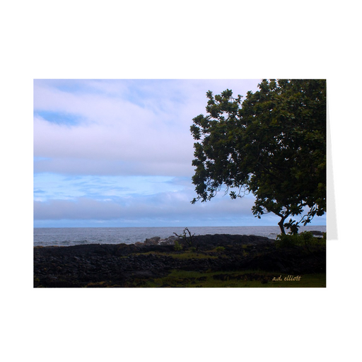 The photograph A Break in the Clouds at Hilo Bay, with a blank interior.  These high-quality paper cards come pre-folded, packed in cello sleeves per 10 cards, and includes a white envelope for each card. Works well with regular ballpoint pens after a short drying time.