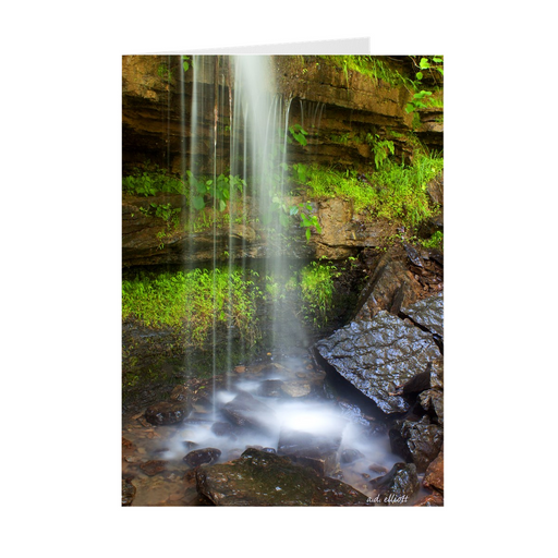 "The photograph ""Twin Falls at Devil's Den"" imprinted on a 5X7 greeting card with an unprinted interior. These high-quality paper cards come pre-folded, packed in cello sleeves per 10 cards, and include a white envelope for each card. Works well with regular ballpoint pens after a short drying time."