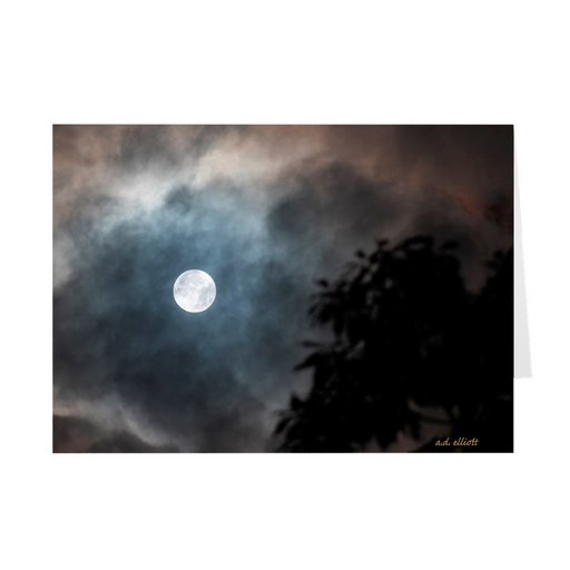 The photograph Lucky Moon imprinted on a 5X7 greeting card with an unprinted interior.  These high-quality paper cards come pre-folded, packed in cello sleeves per 10 cards, and includes a white envelope for each card. Works well with regular ballpoint pens after a short drying time.