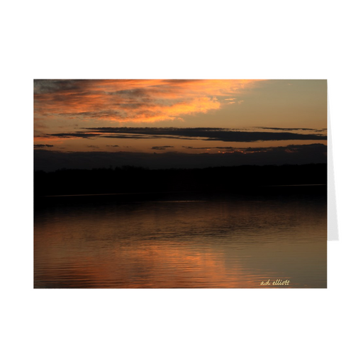 The photograph Loch Lomond Sunset Skyscape imprinted on a 5X7 greeting card with an unprinted interior.  These high quality paper cards come pre-folded, packed in cello sleeves per 10 cards, and includes a white envelope for each card. Works well with regular ballpoint pens after a short drying time.