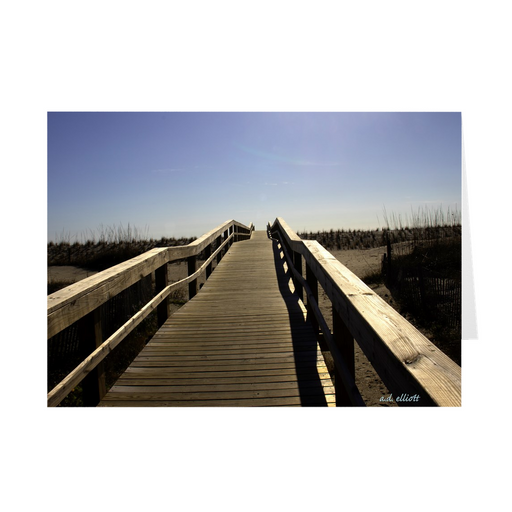 "The photograph ""Path to the Atlantic 2021"" imprinted on a 5x7 greeting card with an unprinted interior.  These high-quality paper cards come pre-folded, packed in cello sleeves per 10 cards, and include a white envelope for each card."