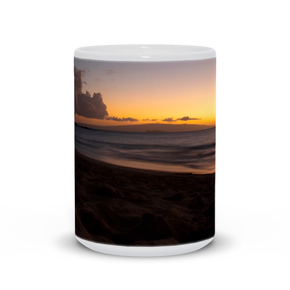 The photograph Garrett's Sunset imprinted on a 15oz coffee mug.  Add a bit of brightness to the morning routine with one of our high quality, dishwasher and microwave safe classic mugs made from quality ceramic with a comfortable handle.