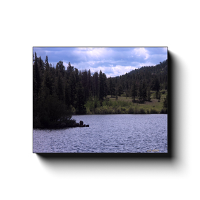 A photograph of Parvin Lake Colorado, taken by the photographer a.d. elliott  Printed on high quality, artist grade stock and folded around a lightweight frame to give them a gorgeous, gallery ready appearance. With acid free ink that will last without fading or chipping, Features a scratch-resistant UV coating. Wipes clean easily with a damp cloth or to remove dust, vacuum gently using a soft brush attachment.