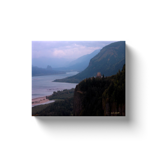 A landscape photograph of the Vista House - Columbia River Gorge.  Printed on high quality, artist grade stock and folded around a lightweight frame to give them a gorgeous, gallery ready appearance. With acid free ink that will last without fading or chipping, Features a scratch-resistant UV coating. Wipes clean easily with a damp cloth or to remove dust, vacuum gently using a soft brush attachment.