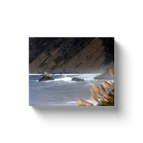 A landscape photograph of seagrass and waves on the Pacific.  Printed on high quality, artist-grade stock and folded around a lightweight frame to give them a gorgeous, gallery-ready appearance. With acid-free ink that will last without fading or chipping, Features a scratch-resistant UV coating. Wipes clean easily with a damp cloth or to remove dust, vacuum gently using a soft brush attachment.