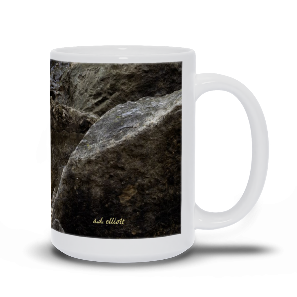 "The photograph ""Pinion Cascade 2020"" imprinted on a 15 oz white coffee mug.  Add a bit of brightness to the morning routine with one of our high quality, dishwasher and microwave safe classic mugs made from quality ceramic with a comfortable handle."