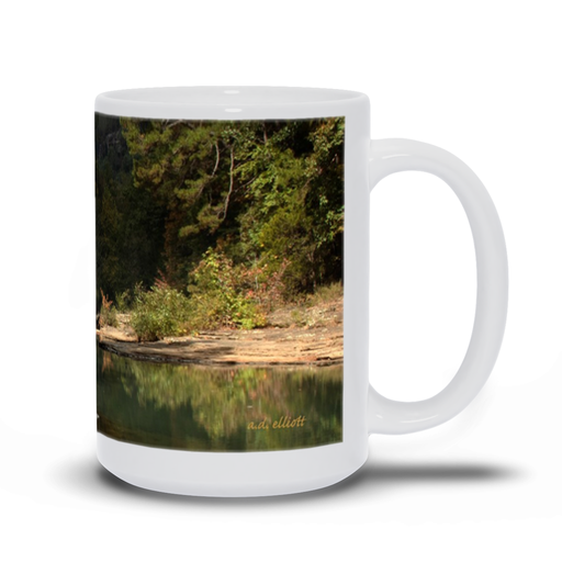 The photograph Haw Creek in Autumn imprinted on a 15 oz coffee mug.  Add a bit of brightness to the morning routine with one of our high quality, dishwasher, and microwave safe classic mugs made from quality ceramic with a comfortable handle.