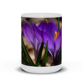 he photograph First Crocus imprinted on a 15oz coffee mug.  Add a bit of brightness to the morning routine with one of our high quality, dishwasher and microwave safe classic mugs made from quality ceramic with a comfortable handle.