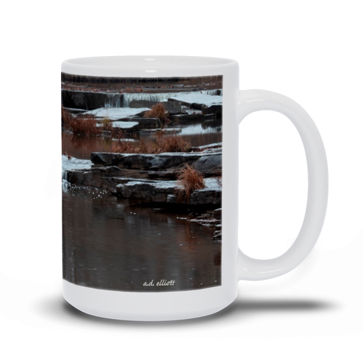 "The photograph ""Sand Creek Falls"" imprinted on a 15oz white coffee mug.  Add a bit of brightness to the morning routine with one of our high quality, dishwasher and microwave safe classic mugs made from quality ceramic with a comfortable handle."
