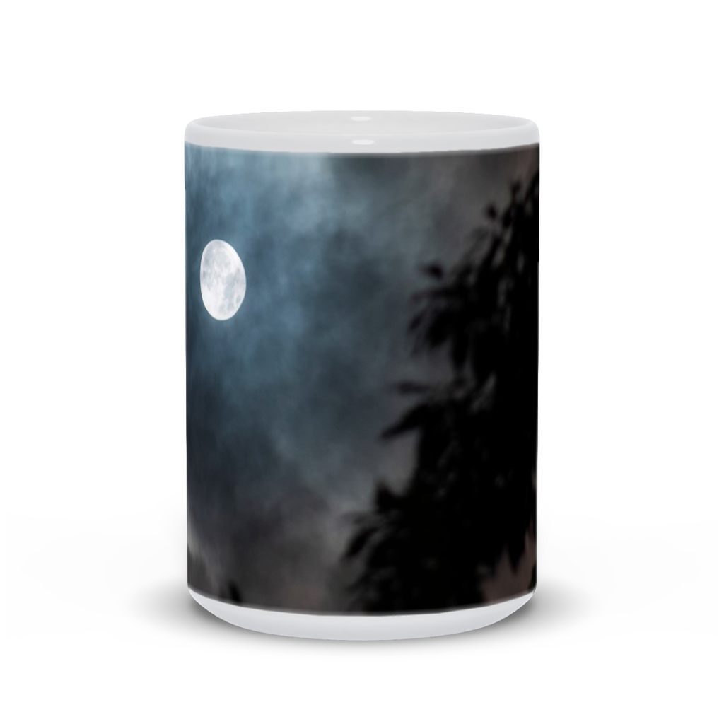 The photograph Lucky Moon imprinted on a 15oz coffee mug.  Add a bit of brightness to the morning routine with one of our high quality, dishwasher and microwave safe classic mugs made from quality ceramic with a comfortable handle.