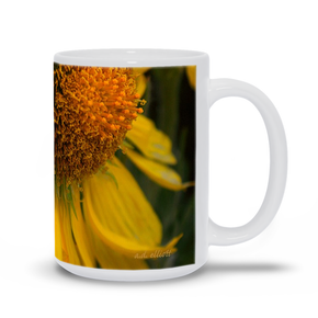 A coffee mug imprinted with the photograph Alpine Sunflowers.  Add a bit of brightness to the morning routine with one of our high quality, dishwasher and microwave safe classic mugs made from quality ceramic with a comfortable handle.