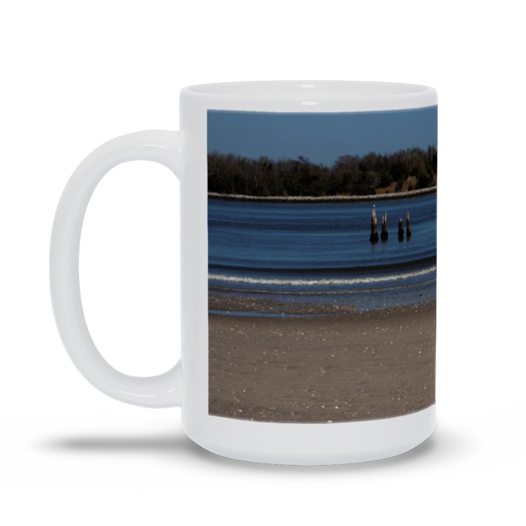 "The photograph ""Old North Pier"" imprinted on a white 15oz coffee mug.  Add a bit of brightness to the morning routine with one of our high-quality, dishwasher and microwave-safe classic mugs made from quality ceramic with a comfortable handle."