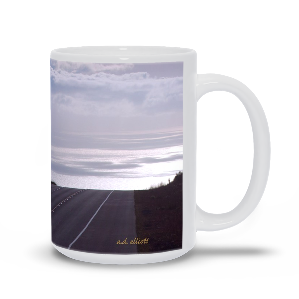 The photograph Daniel K. Inouye Highway imprinted on a 15oz coffee mug.  Add a bit of brightness to the morning routine with one of our high quality, dishwasher and microwave safe classic mugs made from quality ceramic with a comfortable handle.