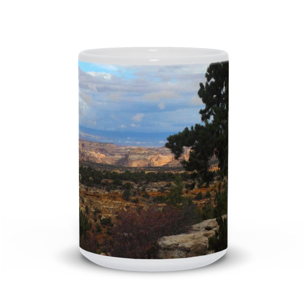 The photograph Eagle Canyon imprinted on a 15oz coffee mug.  Add a bit of brightness to the morning routine with one of our high quality, dishwasher and microwave safe classic mugs made from quality ceramic with a comfortable handle.