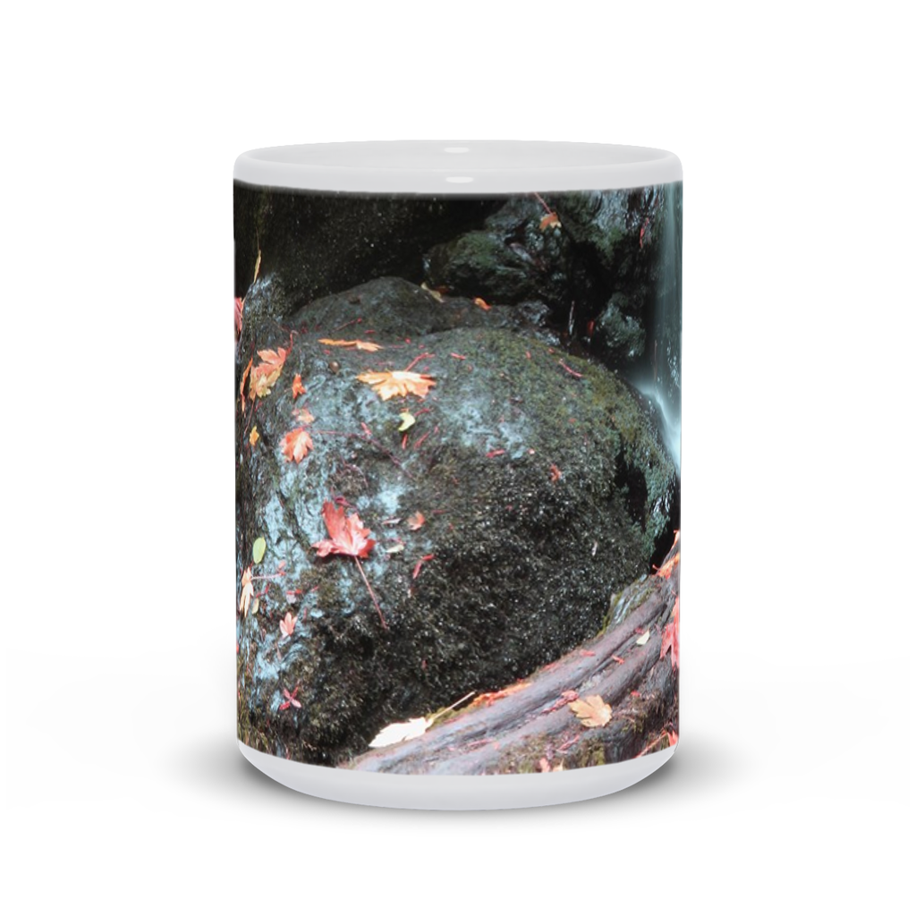 The photograph Trillium Falls imprinted on a 15oz coffee mug.  Add a bit of brightness to the morning routine with one of our high quality, dishwasher and microwave safe classic mugs made from quality ceramic with a comfortable handle.