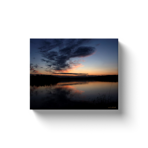 A landscape photograph of lake Loch Lomond in Bella Vista Arkansas. Taken by the Arkansas photographer a.d. elliott.  Printed on high quality, artist-grade stock and folded around a lightweight frame to give them a gorgeous, gallery-ready appearance. With acid-free ink that will last without fading or chipping, Features a scratch-resistant UV coating. Wipes clean easily with a damp cloth or to remove dust, vacuum gently using a soft brush attachment.