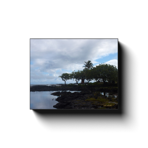 A landscape photograph of Hilo Bay Hawaii, taken by the Arkansas photographer a.d. elliott #TaketheBackRoads  Printed on high quality, artist grade stock and folded around a lightweight frame to give them a gorgeous, gallery ready appearance. With acid free ink that will last without fading or chipping, Features a scratch-resistant UV coating. Wipes clean easily with a damp cloth or to remove dust, vacuum gently using a soft brush attachment.