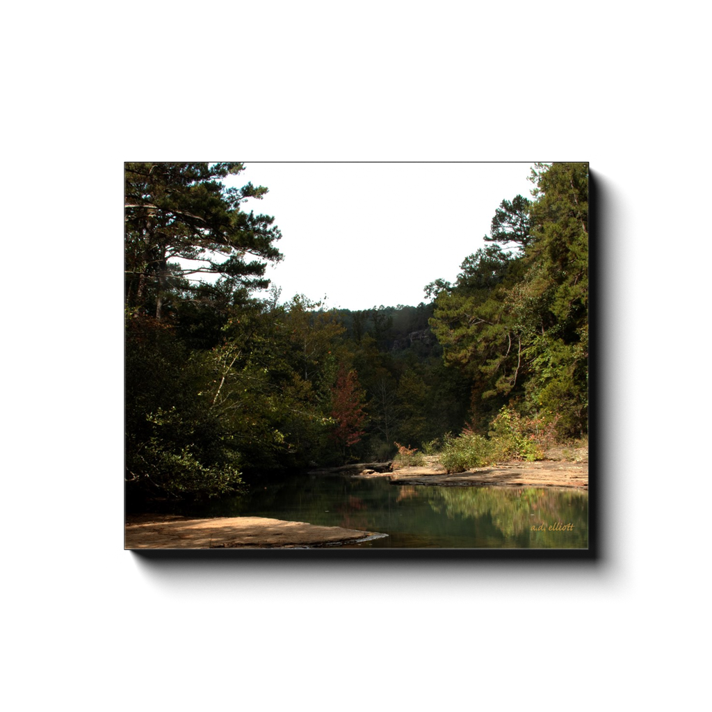 A landscape photograph of Haw Creek Arkansas during the Fall. Taken by the Arkansas photographer a.d. elliott #TaketheBackRoads  Printed on high quality, artist grade stock and folded around a lightweight frame to give them a gorgeous, gallery ready appearance. With acid free ink that will last without fading or chipping, Features a scratch-resistant UV coating. Wipes clean easily with a damp cloth or to remove dust, vacuum gently using a soft brush attachment.