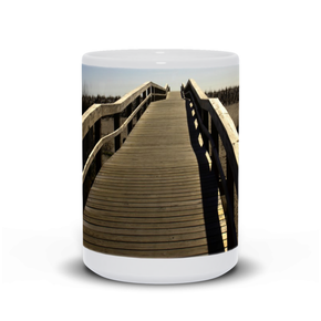 "The photograph ""Path to the Atlantic 2021"" imprinted on a white, 15oz coffee mug.  Add a bit of brightness to the morning routine with one of our high-quality, dishwasher and microwave-safe classic mugs made from quality ceramic with a comfortable handle."