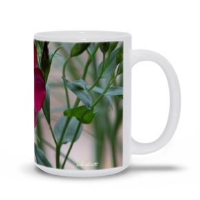 The photograph Scarlet Flax imprinted on a 15oz coffee mug.  Add a bit of brightness to the morning routine with one of our high quality, dishwasher, and microwave safe classic mugs made from quality ceramic with a comfortable handle.