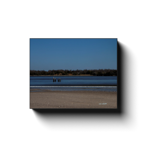 A landscape photograph of the Savannah River from the Old North Pier. Taken by photographer a.d. elliott #TaketheBackRoads.  Available in sizes 8x10 to 24x30 and printed on high quality, artist-grade stock and folded around a lightweight frame to give them a gorgeous, gallery-ready appearance.