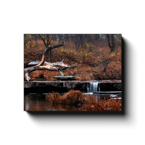 A long exposure photograph of Sand Creek in Osage Hills State Park Oklahoma. Taken by the photographer a.d. elliott - Take the Back Roads - #TaketheBackRoads  Printed on high quality, artist-grade stock and folded around a lightweight frame to give them a gorgeous, gallery-ready appearance. With acid-free ink that will last without fading or chipping, Features a scratch-resistant UV coating. Wipes clean easily with a damp cloth or to remove dust, vacuum gently using a soft brush attachment.