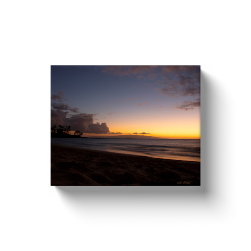 A long exposure photograph of the Pacific Ocean from Wailea Beach, Maui, Hawaii at sunset. Taken by the Arkansas photographer a.d. elliott.  Printed on high quality, artist-grade stock and folded around a lightweight frame to give them a gorgeous, gallery-ready appearance. With acid-free ink that will last without fading or chipping, Features a scratch-resistant UV coating. Wipes clean easily with a damp cloth or to remove dust, vacuum gently using a soft brush attachment.
