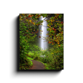 A long exposure photograph of Latourell Falls near Corbett Oregon. Taken by the photographer a.d. elliott  Printed on high quality, artist-grade stock and folded around a lightweight frame to give them a gorgeous, gallery-ready appearance. With acid-free ink that will last without fading or chipping, Features a scratch-resistant UV coating. Wipes clean easily with a damp cloth or to remove dust, vacuum gently using a soft brush attachment.