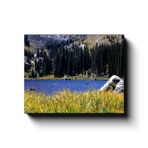 A landscape photograph of Diamond Lake, near Nederland Colorado. Taken by the Arkansas photographer a.d. elliott. #TaketheBackRoads  Printed on high quality, artist grade stock and folded around a lightweight frame to give them a gorgeous, gallery ready appearance. With acid free ink that will last without fading or chipping, Features a scratch-resistant UV coating. Wipes clean easily with a damp cloth or to remove dust, vacuum gently using a soft brush attachment.