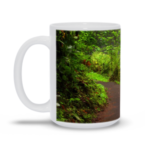 "The photograph ""Path to Latourell Falls"" imprinted on a 15oz white coffee mug.  Add a bit of brightness to the morning routine with one of our high quality, dishwasher and microwave safe classic mugs made from quality ceramic with a comfortable handle."