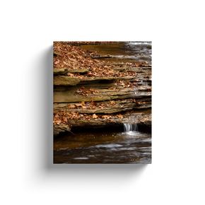 A long exposure photograph of Tanyard creek flowing through autumn leaves - Bella Vista Arkansas.  Printed on high quality, artist grade stock and folded around a lightweight frame to give them a gorgeous, gallery ready appearance. With acid free ink that will last without fading or chipping, Features a scratch-resistant UV coating. Wipes clean easily with a damp cloth or to remove dust, vacuum gently using a soft brush attachment.