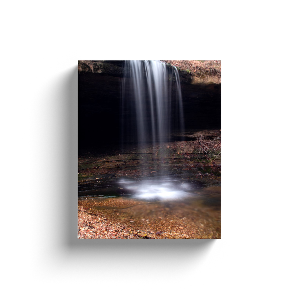 A long exposure photograph of the Glory B Falls near Cass Arkansas, taken by the Arkansas photographer a.d. elliott.  Printed on high-quality, artist-grade stock and folded around a lightweight frame to give them a gorgeous, gallery-ready appearance. With acid-free ink that will last without fading or chipping, Features a scratch-resistant UV coating. Wipes clean easily with a damp cloth or to remove dust, vacuum gently using a soft brush attachment.