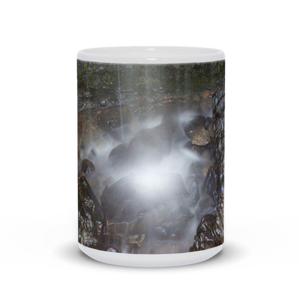 The photograph Devil's Den Falls imprinted on a 15oz coffee mug.  Add a bit of brightness to the morning routine with one of our high quality, dishwasher and microwave safe classic mugs made from quality ceramic with a comfortable handle.
